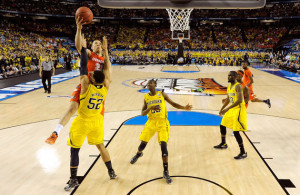 This controversial call probably would have been a block under the new NCAA rules. (Getty Images)