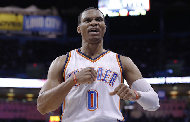Oklahoma City Thunder guard Russell Westbrook (0) reacts after scoring against the Miami Heat during the second half of an NBA basketball game in Oklahoma City, Monday, Nov. 7, 2016. Oklahoma City won 97-85. (AP Photo/Alonzo Adams)