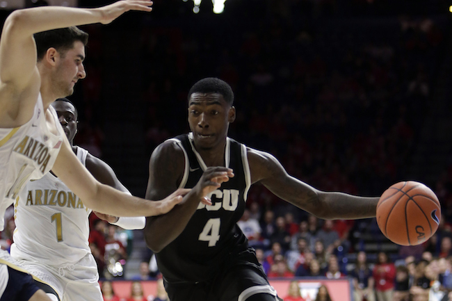 Grand Canyon forward Oscar Frayer (4) during the first half of an NCAA college basketball game against Arizona, Wednesday, Dec. 14, 2016, in Tucson, Ariz. (AP Photo/Rick Scuteri)