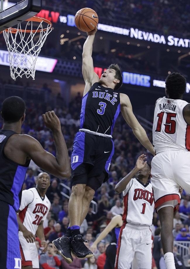 Duke guard Grayson Allen shoots against UNLV during the first half of an NCAA college basketball game Saturday, Dec. 10, 2016, in Las Vegas. (AP Photo/John Locher)
